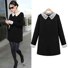 Women Black Block White Lace Collar Cuff Peter Pan Collar Dress Plus Size 14-22[Black,UK 14]
