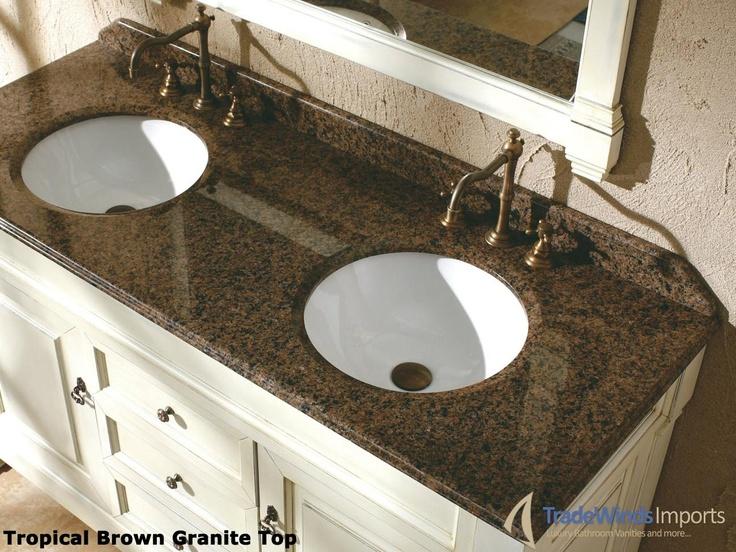 The Art Gallery  Master Bath Peruga Double Vanity Buttermilk w Tropical Brown Granite Top