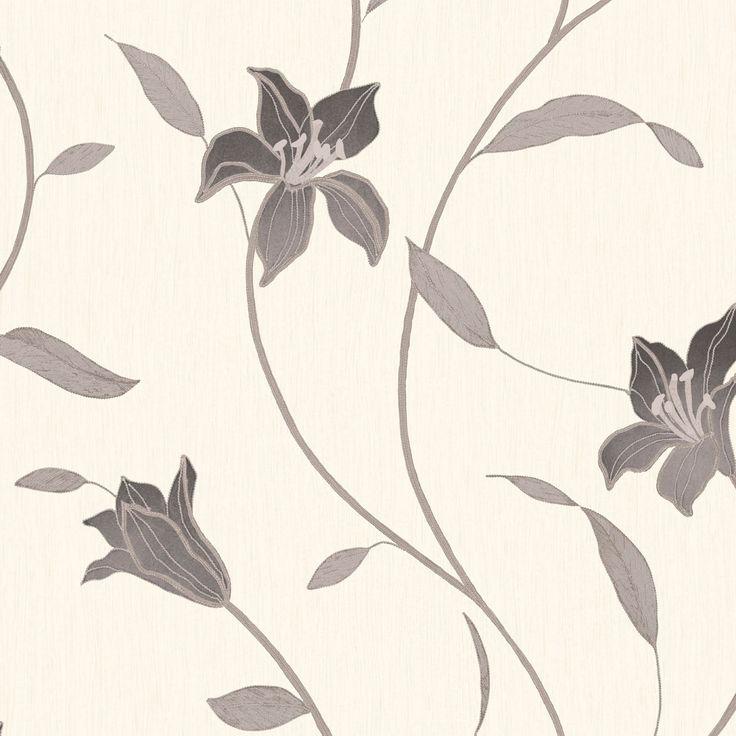Loretta Trail Black Floral Wallpaper | Departments | DIY at B&Q