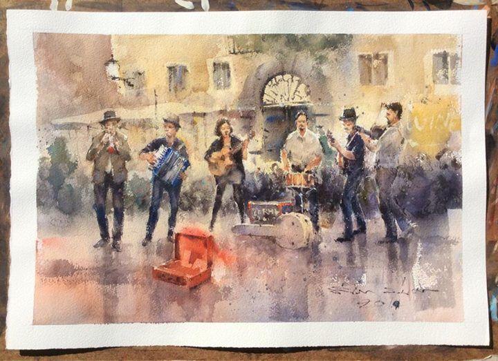 Direk Kingnok Watercolor artist The band at Trastevere ...