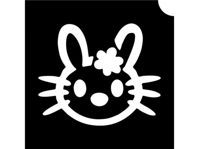 Hello Bunny glitter tattoo stencil