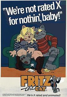 "Fritz the Cat  okay this film is weird. there is no other word for it. it's just flippin weird. it's ""x"" rated too. for a cartoon really? well it's got sex, and drugs, and a lot of content that is related to the revolution views in the 1960s. but IT IS NOT to be taken seriously. but dont watch it sober. it's not allowed."