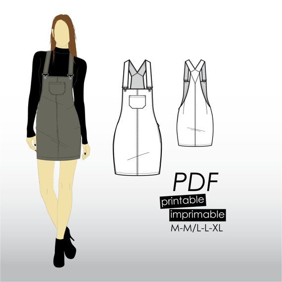 M-XL Pinafore skirt with straps and pocket (PDF sewing pattern for corduroy, denim, twill)