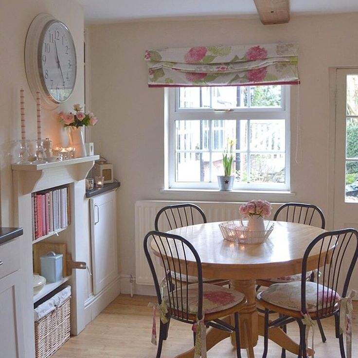 Country cottage dining area. Small and costly can be light and bright too