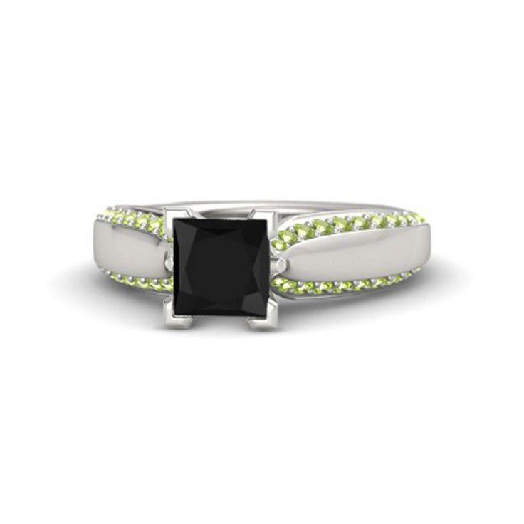 engagement wedding ring in black cz peridot 925 sterling silver