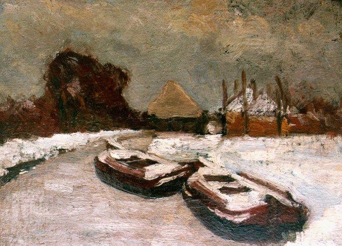 Floris Hendrik Verster van Wulverhorst 'Floris Verster' (Leiden 1861-1927) Moored boats in winter - Dutch Art Gallery Simonis and Buunk Ede, Netherlands.