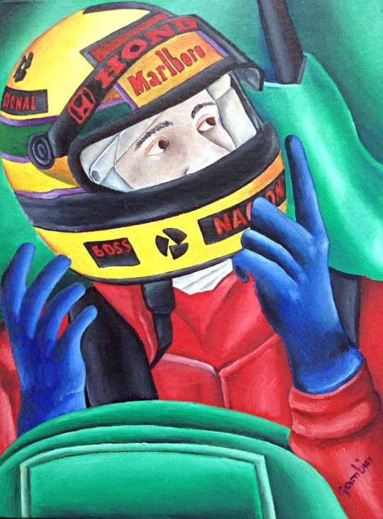 The racing driver by Jg Wilson  oil on cardboard  www.jgwilsonart.com