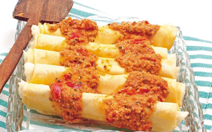 Cannelloni mozzarella, basilico e pomodoro