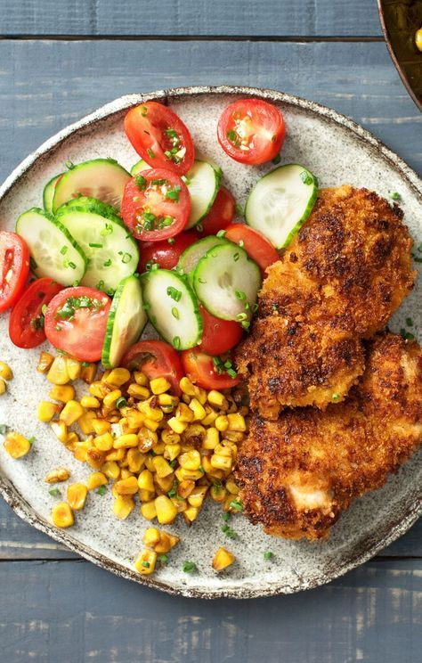 Crispy Chicken With Brown Butter Corn And Cucumber Tomato Salad Recipe With Images Hello