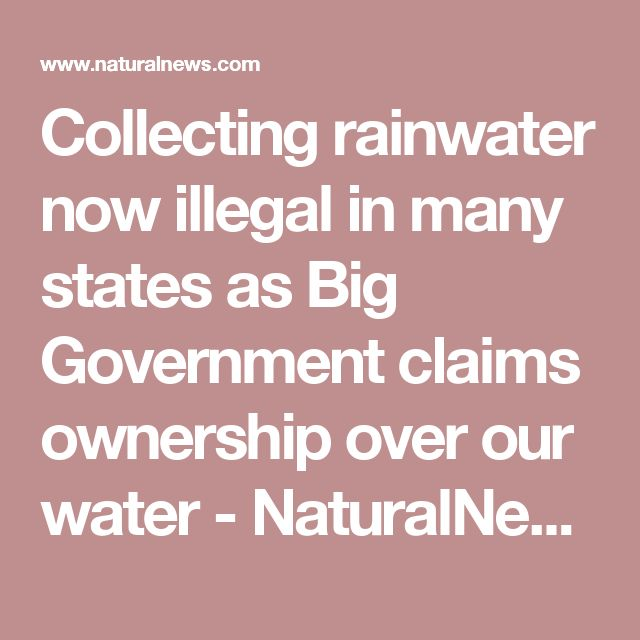 Collecting rainwater now illegal in many states as Big Government claims ownership over our water - NaturalNews.com