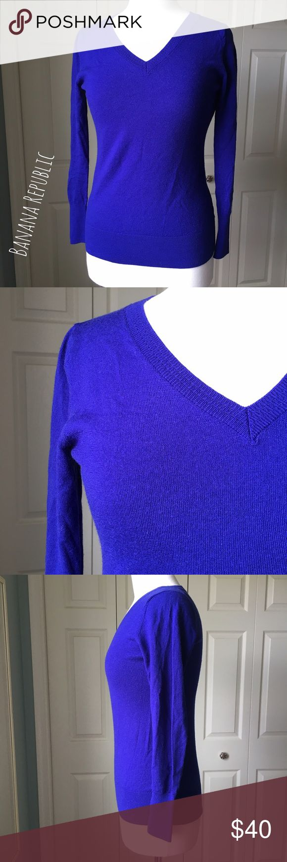 "Banana Republic Cobalt Blue Merino Wool Sweater Classy cobalt blue wool sweater by Banana Republic. ▪️15"" shoulder to shoulder ▪️25"" long ▪️Fits like a Small ▪️In great condition  🚭 Smoke-free home 📬 Ships by next day 💲 Price negotiable  🔁 Open to trades  💟Happy Poshing!💟 Banana Republic Sweaters V-Necks"