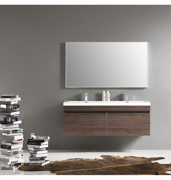 Fresca Largo 57 In Gray Oak Modern Bathroom Vanity With Wavy