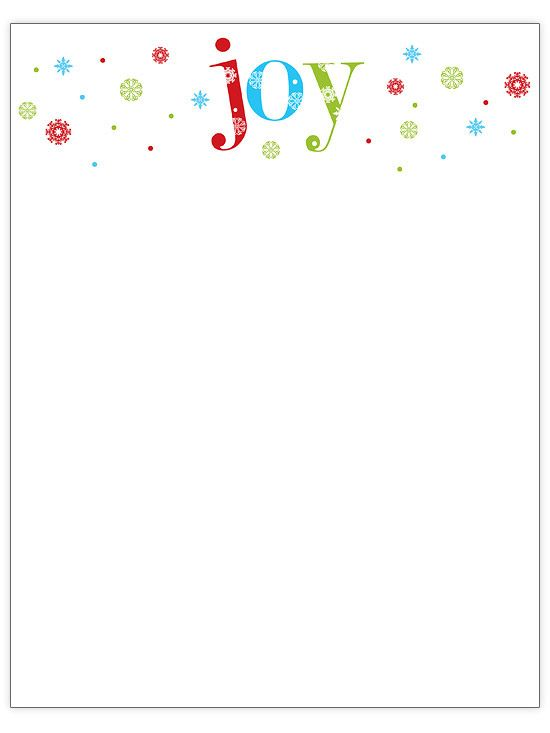 In this Christmas letter, a joyful phrase is set off with colorful snowflakes./