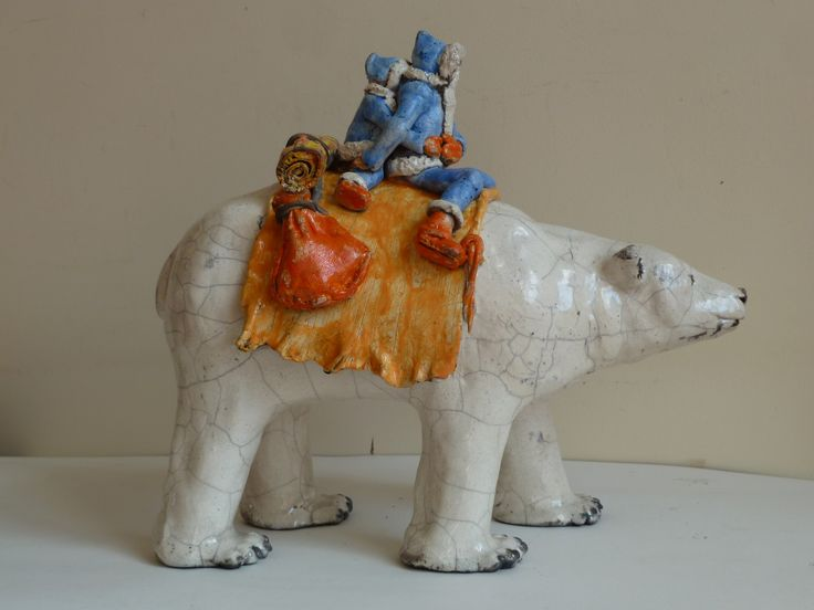 Raku  sculpture - Polar bear riders - glazed