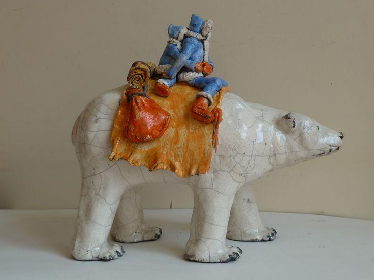 Raku  sculpture - Polar bear riders - glazed