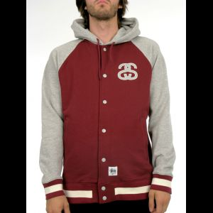 BASEBALL RAGLAN JACKET  Crafted from ultra-soft sweatshirt material, the Hooded Baseball Jacket features a two-tone construction, drawstring hood and snap closure. Design elements include a Double S logo, dual front pocke...