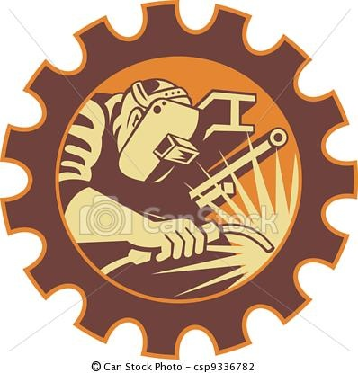Vector - Welder Worker Welding Torch Retro - stock illustration, royalty free illustrations, stock clip art icon, stock clipart icons, logo, line art, EPS picture, pictures, graphic, graphics, drawing, drawings, vector image, artwork, EPS vector art