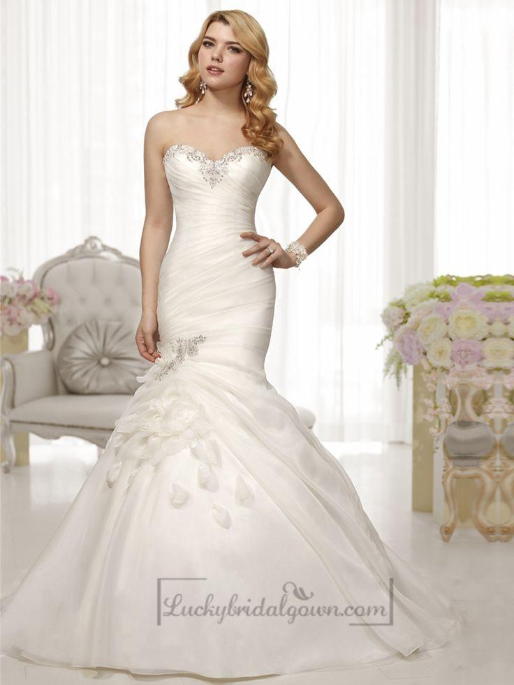 Trumpet Mermaid Beaded Sweetheart Pleated Bodice Wedding Dresses