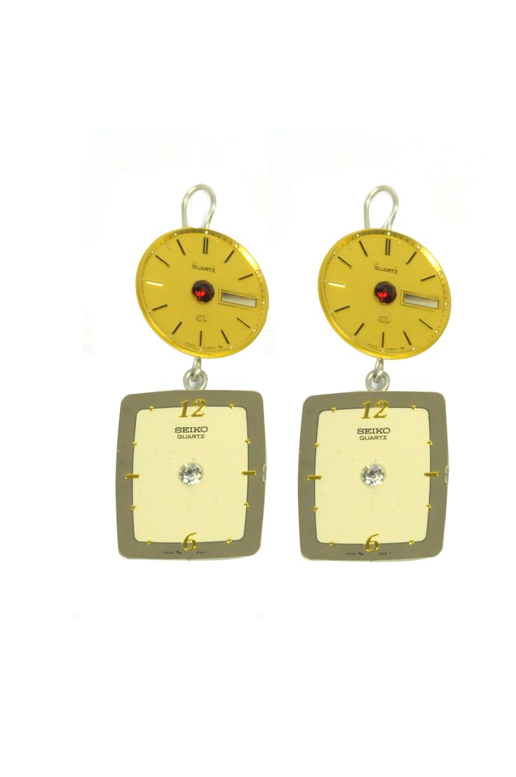 Vintage clock faces earrings by Carmina Campus