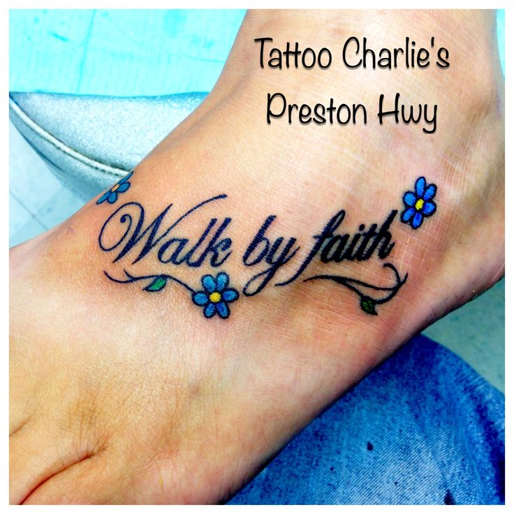 The flowers are too cute walk by faith tattoo by pike for Tattoo charlie s preston hwy louisville ky