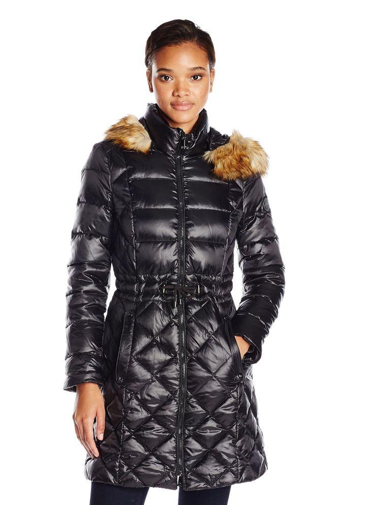 Tabita black light down jacket with leather trim