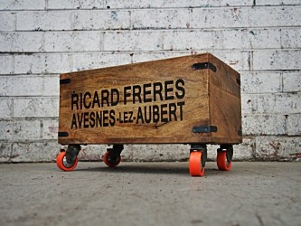 Record Storage Crate | Wooden Crate | Vinyl Holder Castor Wheels