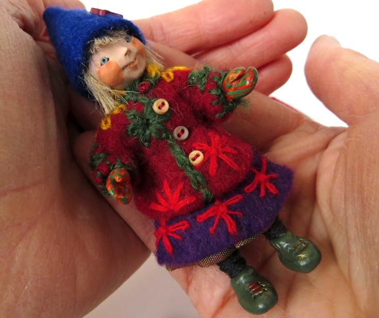 Rosamund,  miniature Heinzelchild art doll by Lorraine K. Muenster