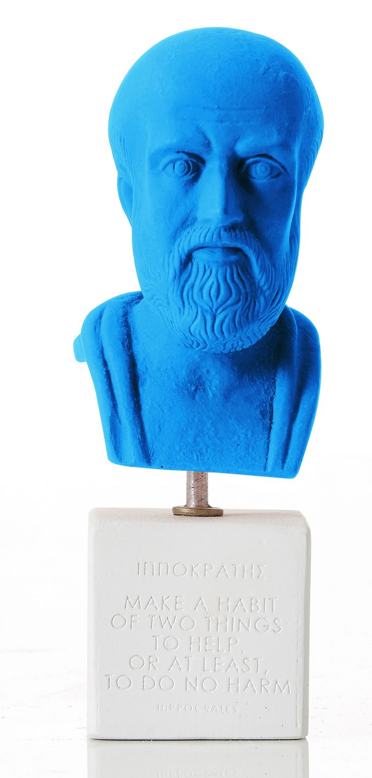 """Hippocrates - """"Make a habbit of two things to help or at least to do no harm."""" Weight: 300 gr Dimension: 16x6x6,5cm Material: ceramine Color: light blue"""