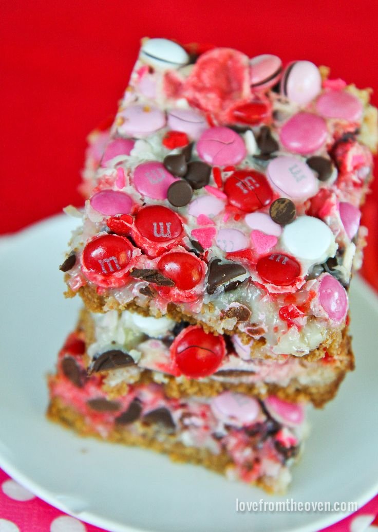 Magic cookie bars given a sweet spin for Valentine's Day! These delicious treats are super easy, basically fool proof!