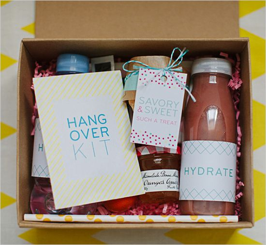 """Brunch in a box"" favor for your guests to enjoy the day after the wedding. Urban Flip Flops."