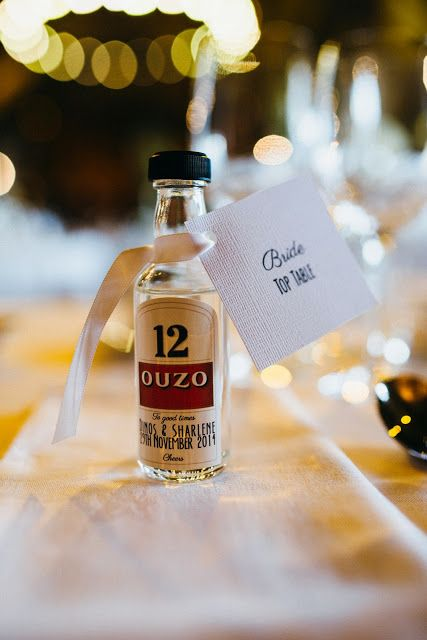 Miniature bottles of Ouzo for a luxury wedding in Greece | saved from: Practical Ever After