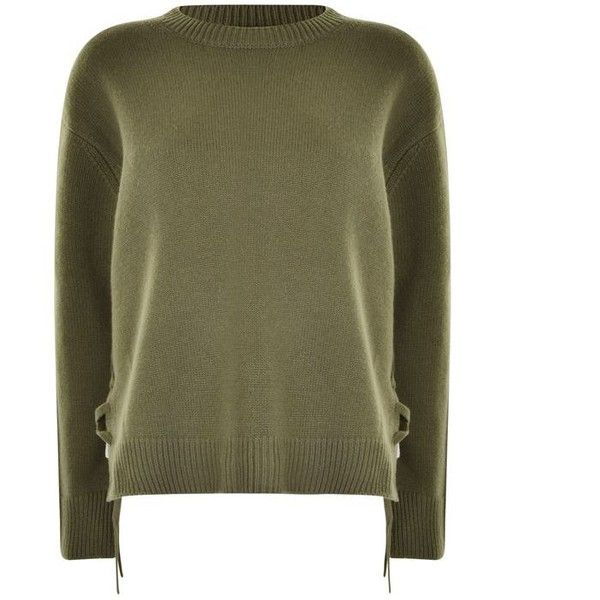 Vince Lace Knitted Jumper (355 CAD) ❤ liked on Polyvore featuring tops, sweaters, olive wood, long sleeve jumper, long sleeve tops, lace sweater, olive green sweater and long sleeve lace top