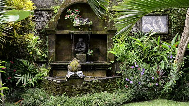 Ms Fountain In Tropical Garden Ubud Bali Indonesia Stock Footage ...