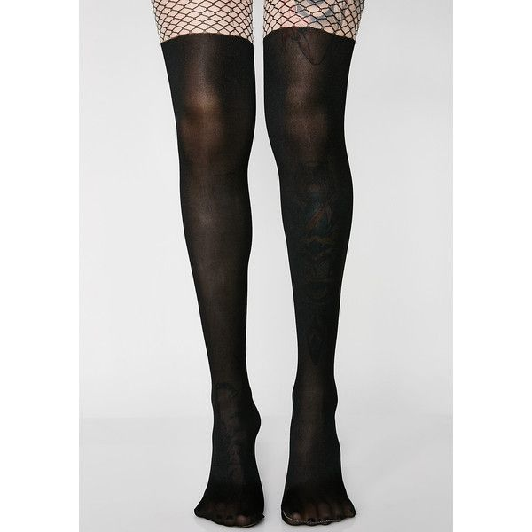 Fishnet Knee High Sheer Tights ($15) ❤ liked on Polyvore featuring intimates, hosiery, tights, sheer patterned tights, patterned fishnet tights, fishnet knee high stockings, print tights and pantyhose tights
