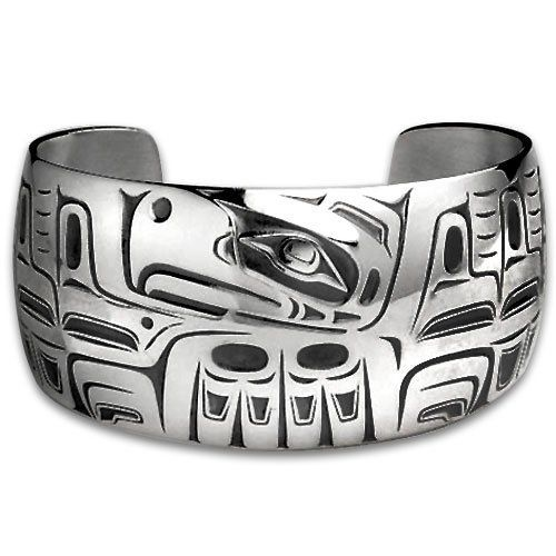 Sterling Silver Wide Eagle Northwest Coast Native American Bracelet. Made in USA. Metal Arts Group. $493.00