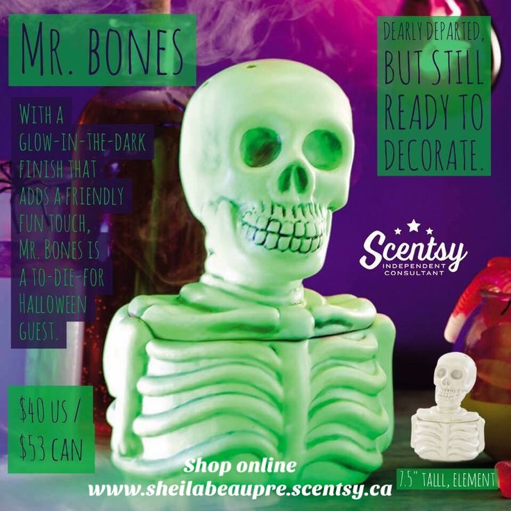 """Dearly departed, but still ready to decorate! With a glow-in-the-dark finish that adds a fiendishly fun touch, Mr. Bones is a to-die-for Halloween guest. To activate finish, just expose Mr. Bones to bright light and his paint will come alive (then slowly fade until the process is repeated). 7.5"""" inches tall, element."""