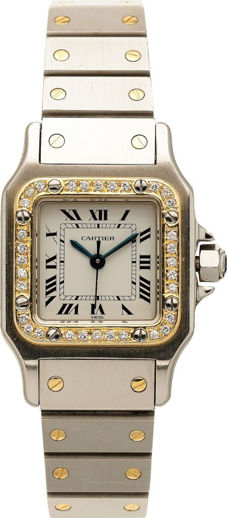 Cartier Lady's Diamond, Gold, Stainless Steel Santos   Lot #59001   Heritage Auctions ~ Buy Now!
