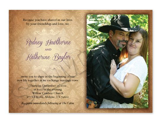 Western Wedding Invitation Wording: Printable Western Wedding Invitation With Photo By