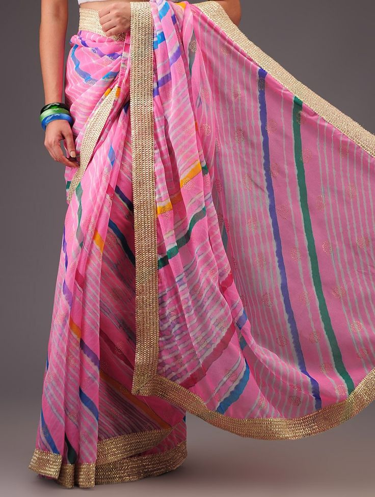Pink Chiffon Khari Print Leheriya Lace Saree