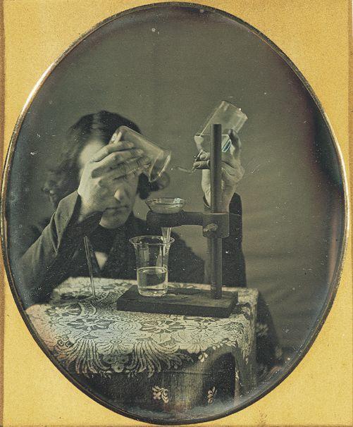 ca. 1843, [Self-portrait daguerreotype  of Robert Cornelius with laboratory instruments], Robert Cornelius via the George Eastman House Coll...