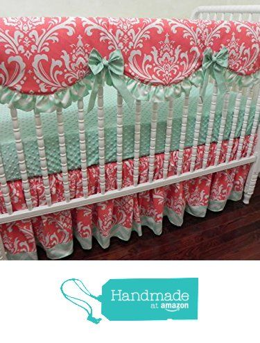 Nursery Bedding, Baby Girl Crib Bedding Set Faith, Scalloped Crib Rail Cover, Bumperless Crib Bedding, Coral and Mint Baby Bedding from Just Baby Designs Inc http://www.amazon.com/dp/B01DEH9P42/ref=hnd_sw_r_pi_awdo_I3spxb1ZMFJTG #handmadeatamazon