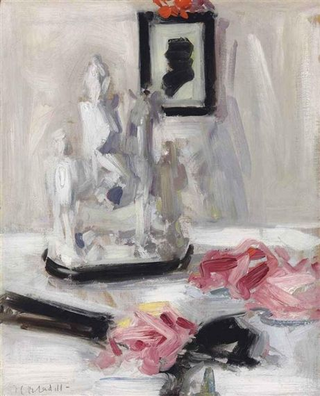 Francis Campbell Boileau Cadell, Still life with a Staffordshire group and a black fan