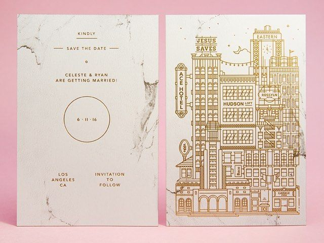 These architecture-inspired save the dates from @mamassauce and @ryann_hunter combine gold foil and a screen printed half tone pattern (the marbling!) - you can read all about them on OSBP today!