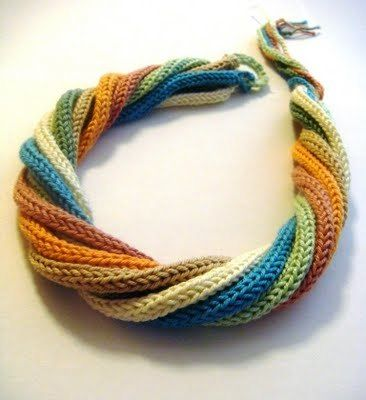 I thought at first look this was knit in a clever triangle with rows and troughs -- but it is several colors of i-cord (or spool-knitted cord) twisted together.