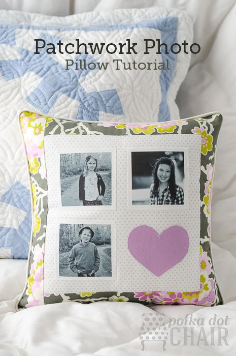 DIY Patchwork Photo Pillow fun pillow to make for your kids or for a wedding present the uses are endless