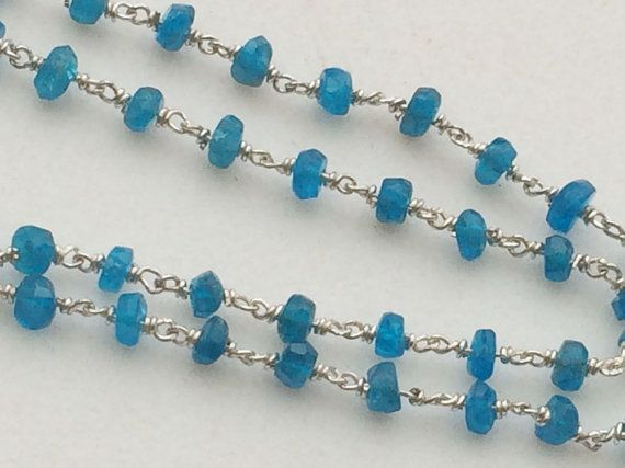 WHOLESALE 5 FEET Neon Apatite Faceted Rondelle by gemsforjewels