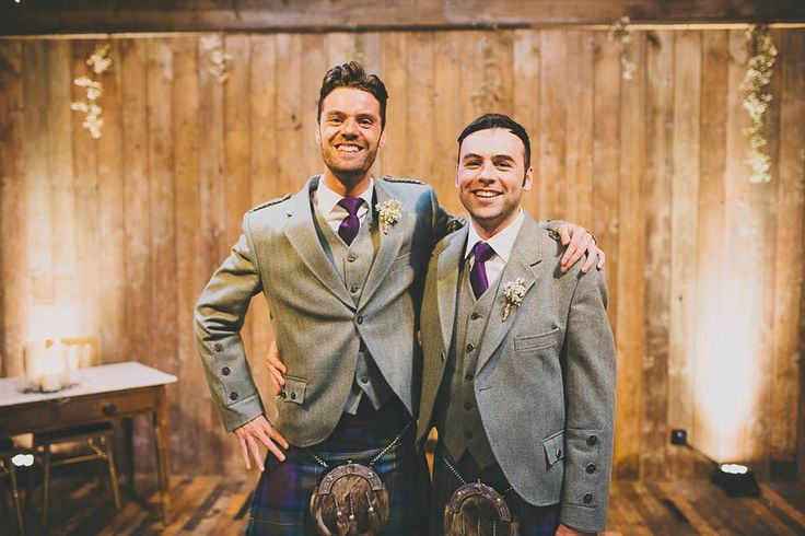 Groom wears a grey jacket and waistcoat with a tartan kilt | Photography by http://jenowensimages.com/