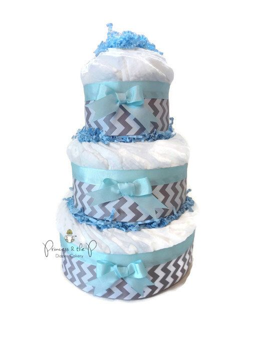 Diaper Cake, Chevron diaper cake, your choice of color, chevron baby shower, centerpiece, decoration by PrincessAndThePbaby on Etsy https://www.etsy.com/listing/183540747/diaper-cake-chevron-diaper-cake-your