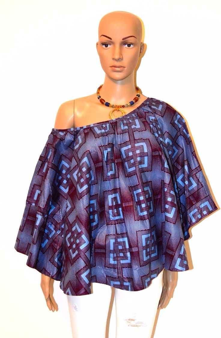 African Print Makeba Top ( Blue/Burgundy)