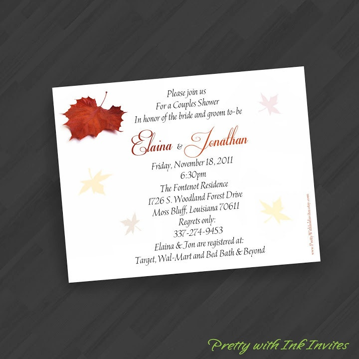 bed bath and beyond wedding invitation kits%0A Autumn Elegance Maple Leaf Invitations for Save the  Dates Engagement Shower Birthday